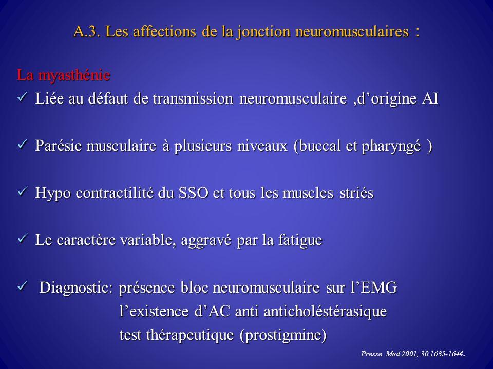 A.3. Les affections de la jonction neuromusculaires :