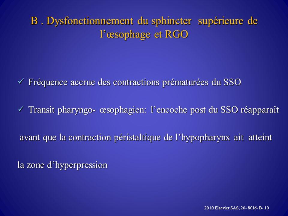 B . Dysfonctionnement du sphincter supérieure de l'œsophage et RGO