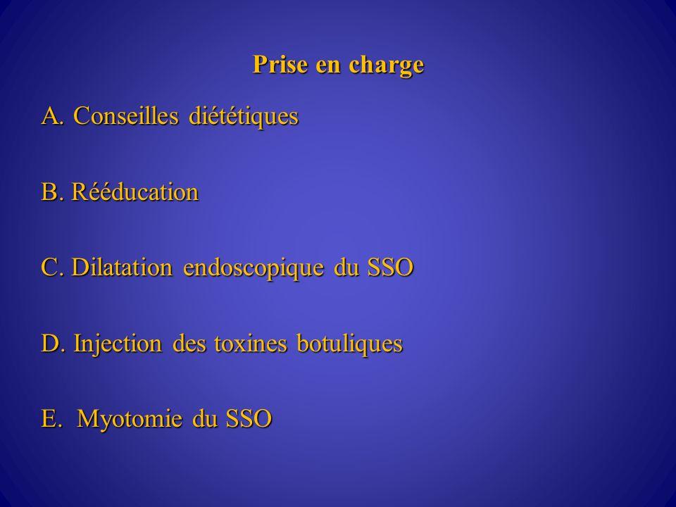 Prise en charge A. Conseilles diététiques. B. Rééducation. C. Dilatation endoscopique du SSO. D. Injection des toxines botuliques