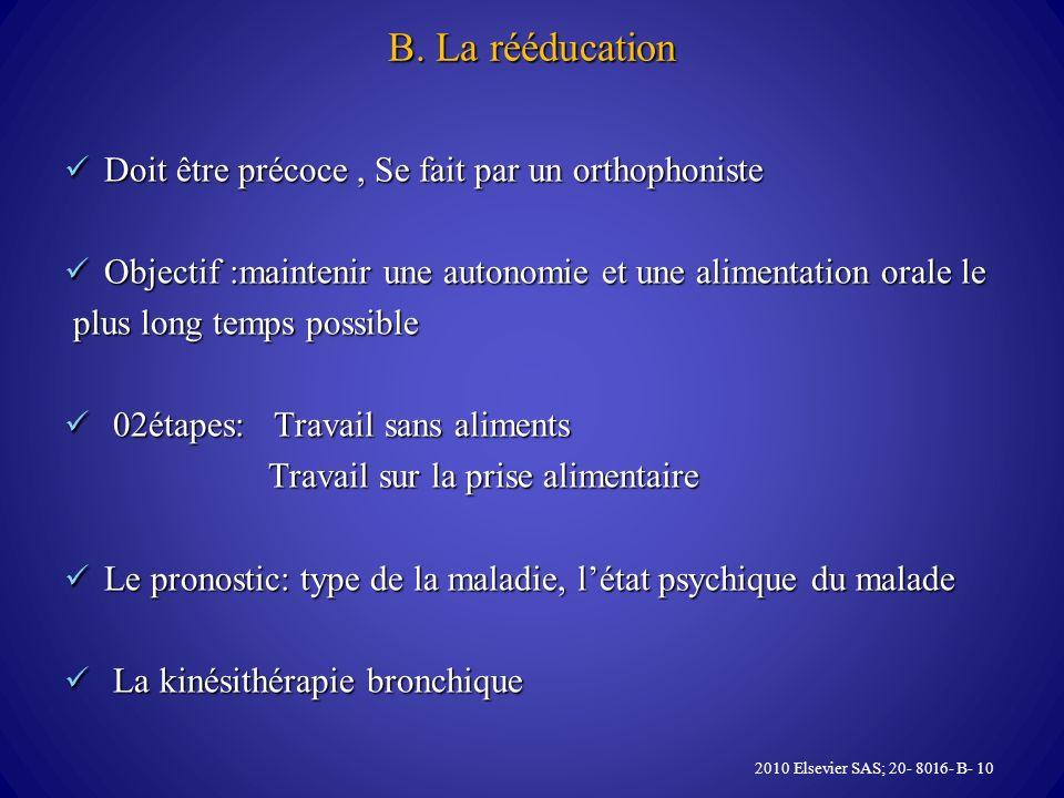 B. La rééducation Doit être précoce , Se fait par un orthophoniste