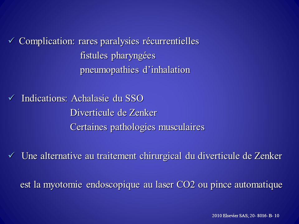 Complication: rares paralysies récurrentielles fistules pharyngées