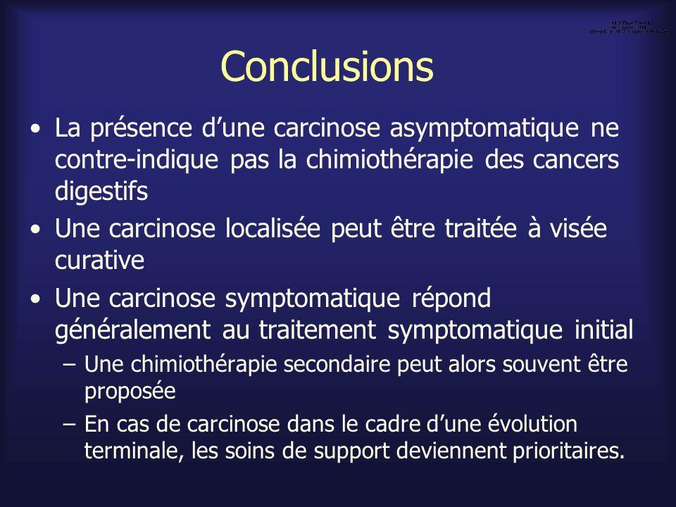 Conclusions La présence d'une carcinose asymptomatique ne contre-indique pas la chimiothérapie des cancers digestifs.