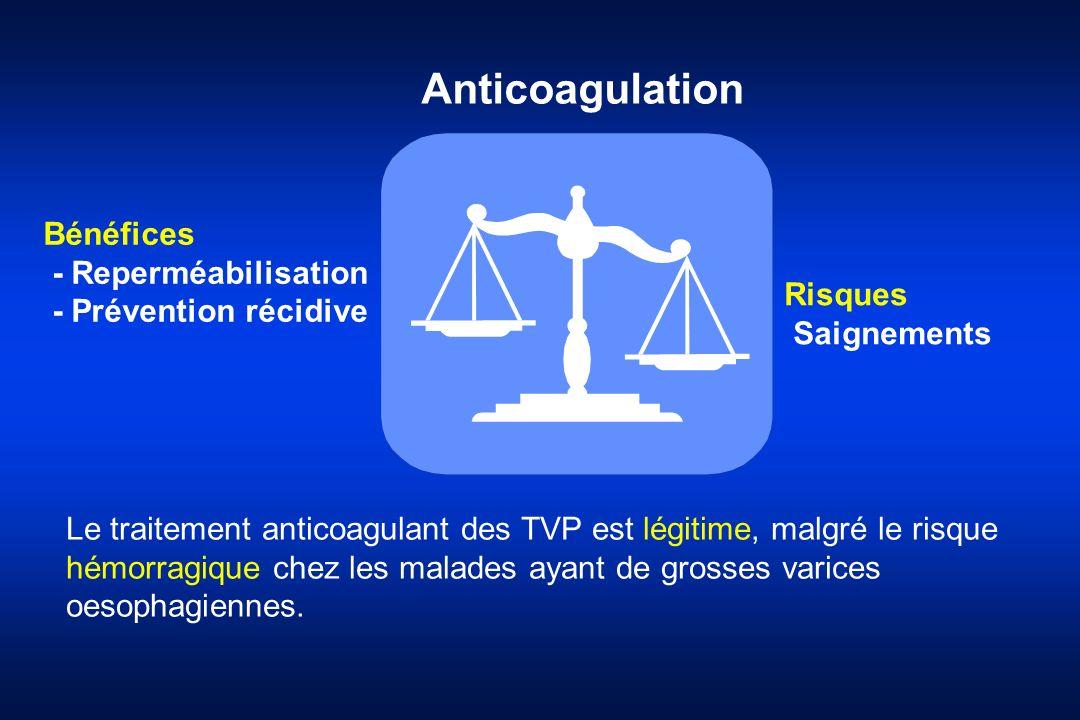 Anticoagulation Bénéfices - Reperméabilisation - Prévention récidive