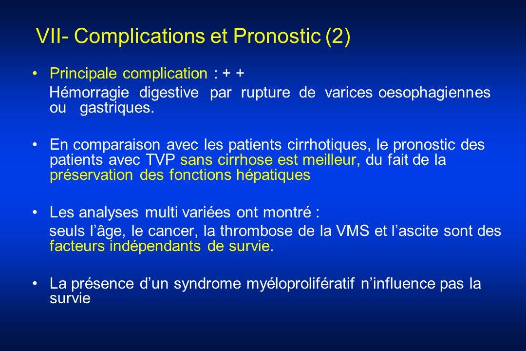 VII- Complications et Pronostic (2)