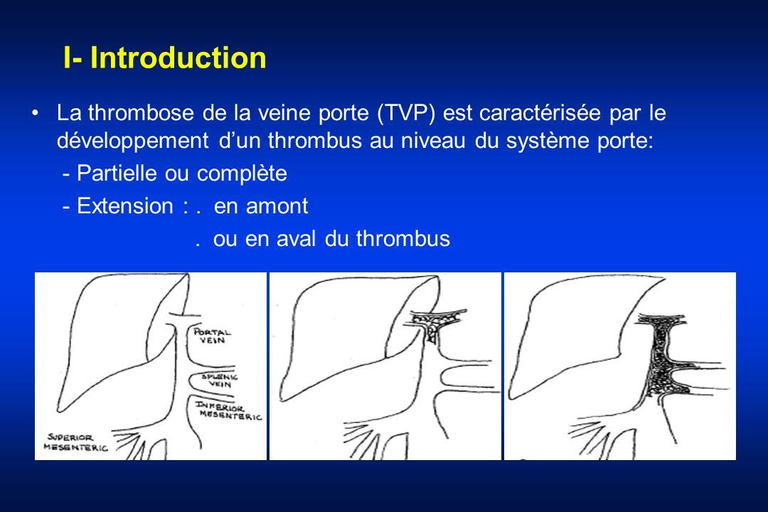 I- Introduction La thrombose de la veine porte (TVP) est caractérisée par le développement d'un thrombus au niveau du système porte: