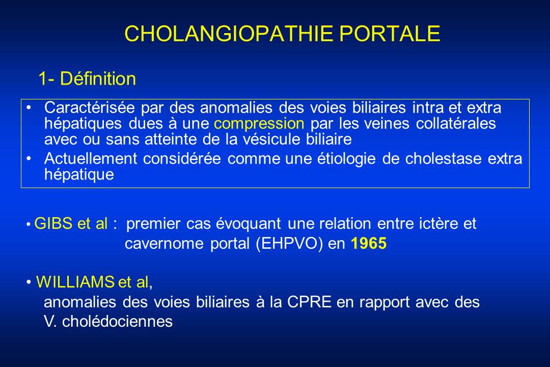 CHOLANGIOPATHIE PORTALE