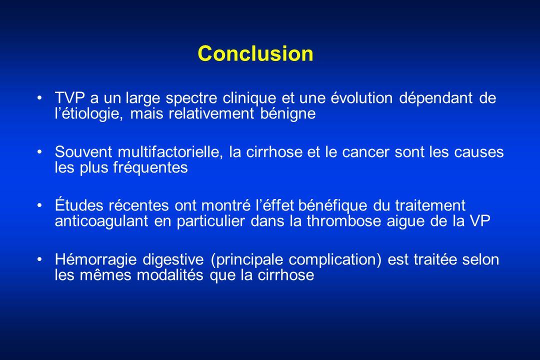 Conclusion TVP a un large spectre clinique et une évolution dépendant de l'étiologie, mais relativement bénigne.