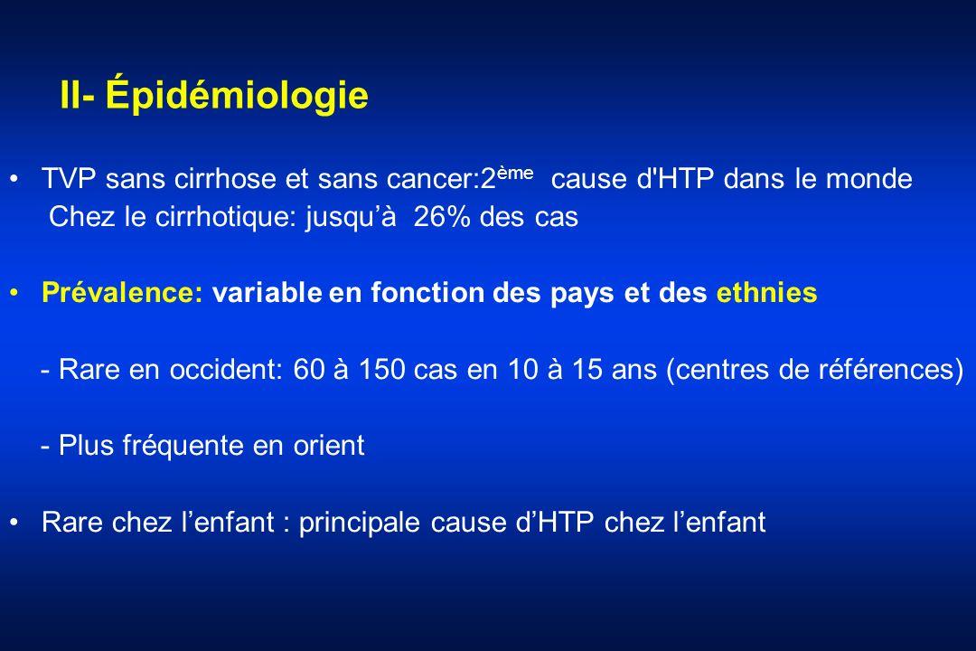 II- Épidémiologie TVP sans cirrhose et sans cancer:2ème cause d HTP dans le monde. Chez le cirrhotique: jusqu'à 26% des cas.