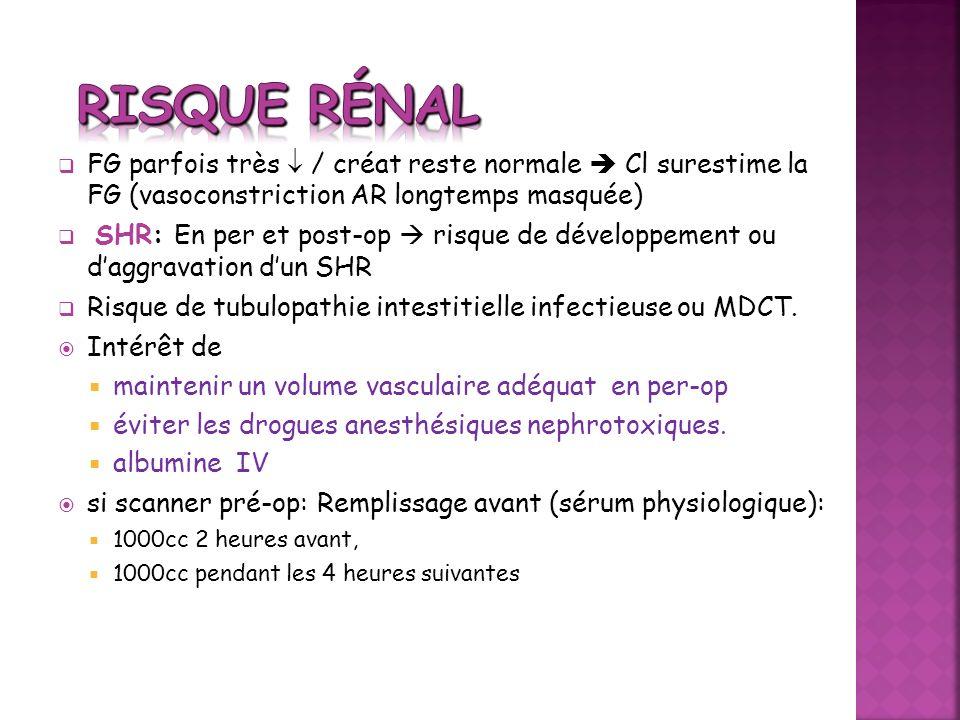 Risque rénalFG parfois très  / créat reste normale  Cl surestime la FG (vasoconstriction AR longtemps masquée)
