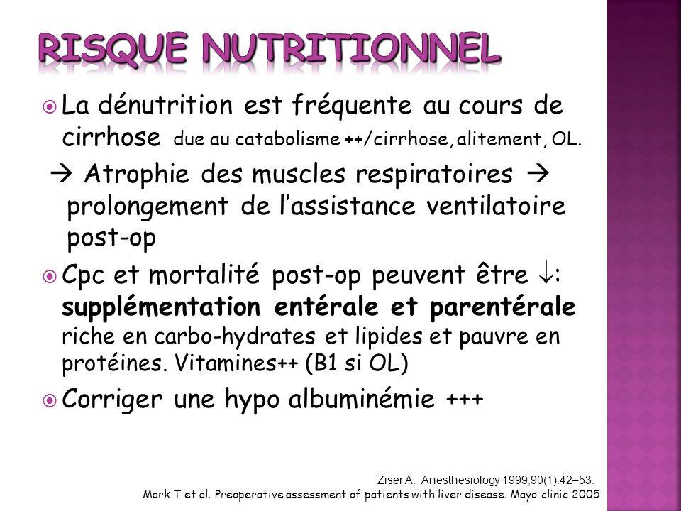 Risque nutritionnel La dénutrition est fréquente au cours de cirrhose due au catabolisme ++/cirrhose, alitement, OL.
