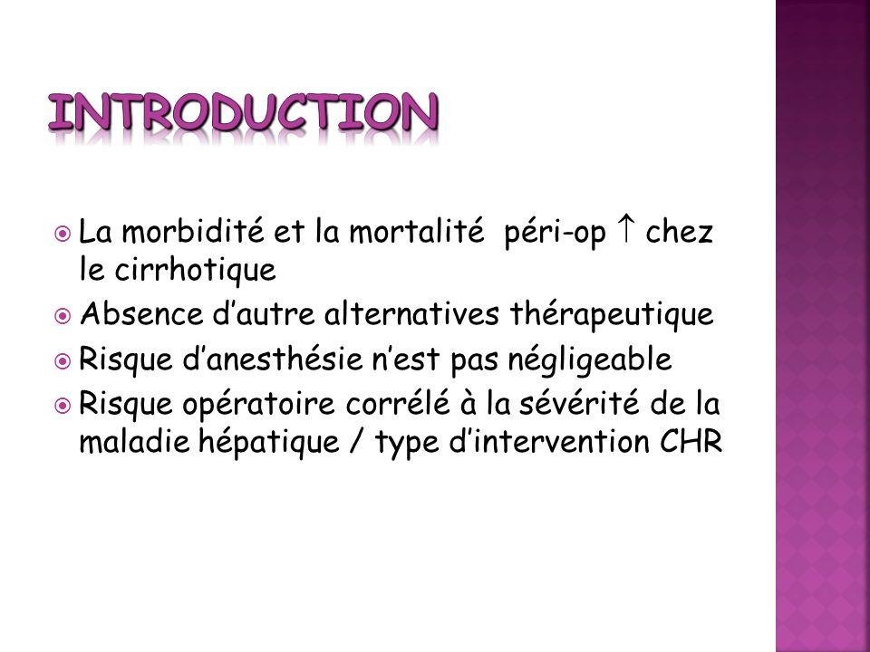 Introduction La morbidité et la mortalité péri-op  chez le cirrhotique. Absence d'autre alternatives thérapeutique.