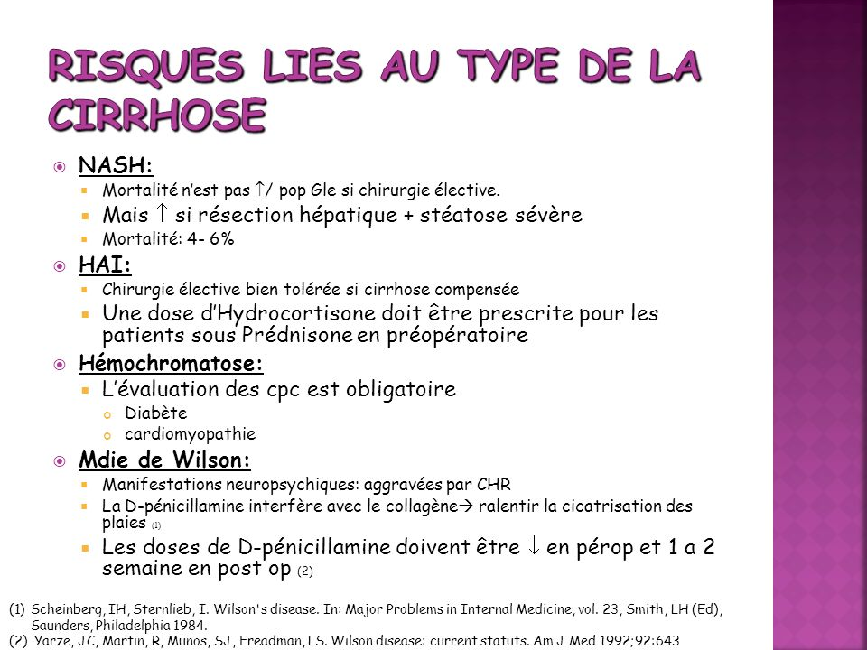 Risques lies au type de la cirrhose