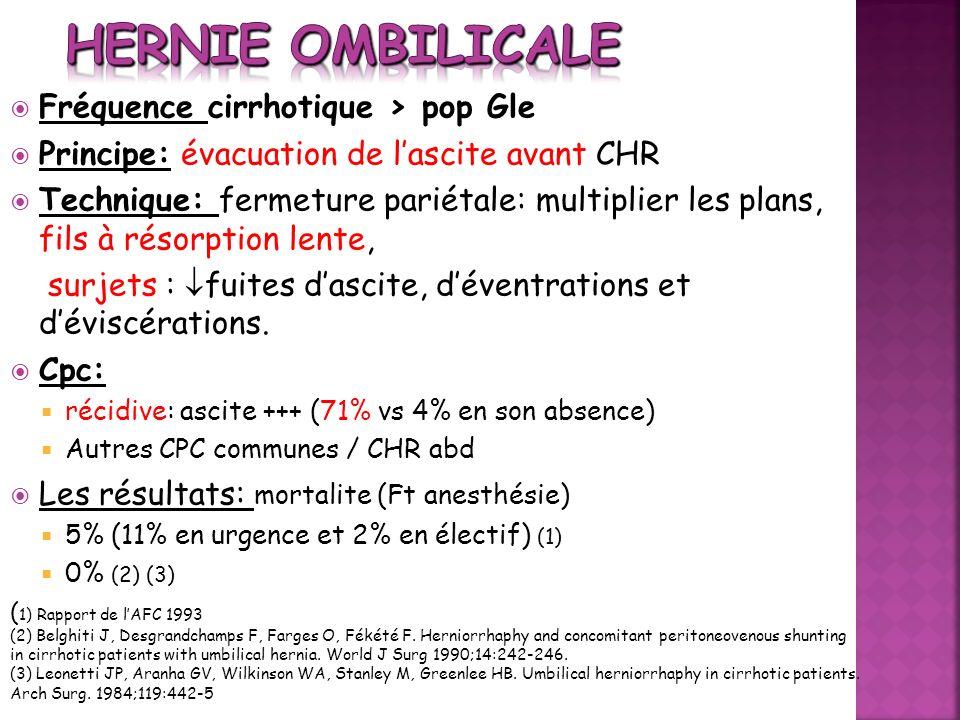 Hernie ombilicale Fréquence cirrhotique > pop Gle