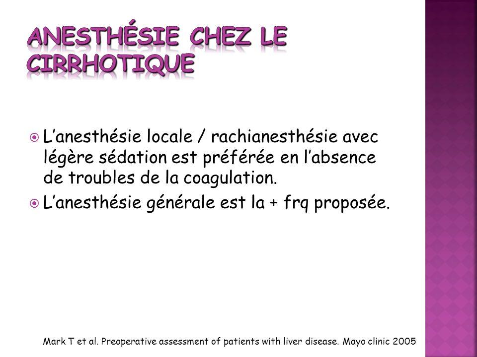 Anesthésie chez le cirrhotique