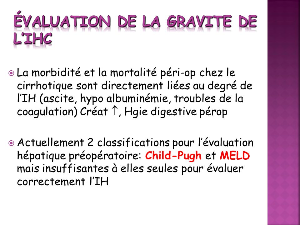 Évaluation de la gravite de l'IHC