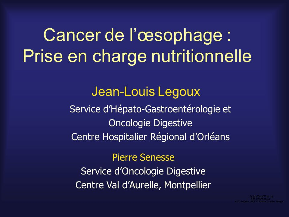Cancer de l'œsophage : Prise en charge nutritionnelle
