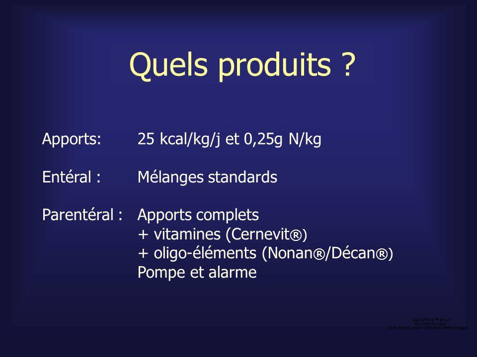 Quels produits Apports: 25 kcal/kg/j et 0,25g N/kg