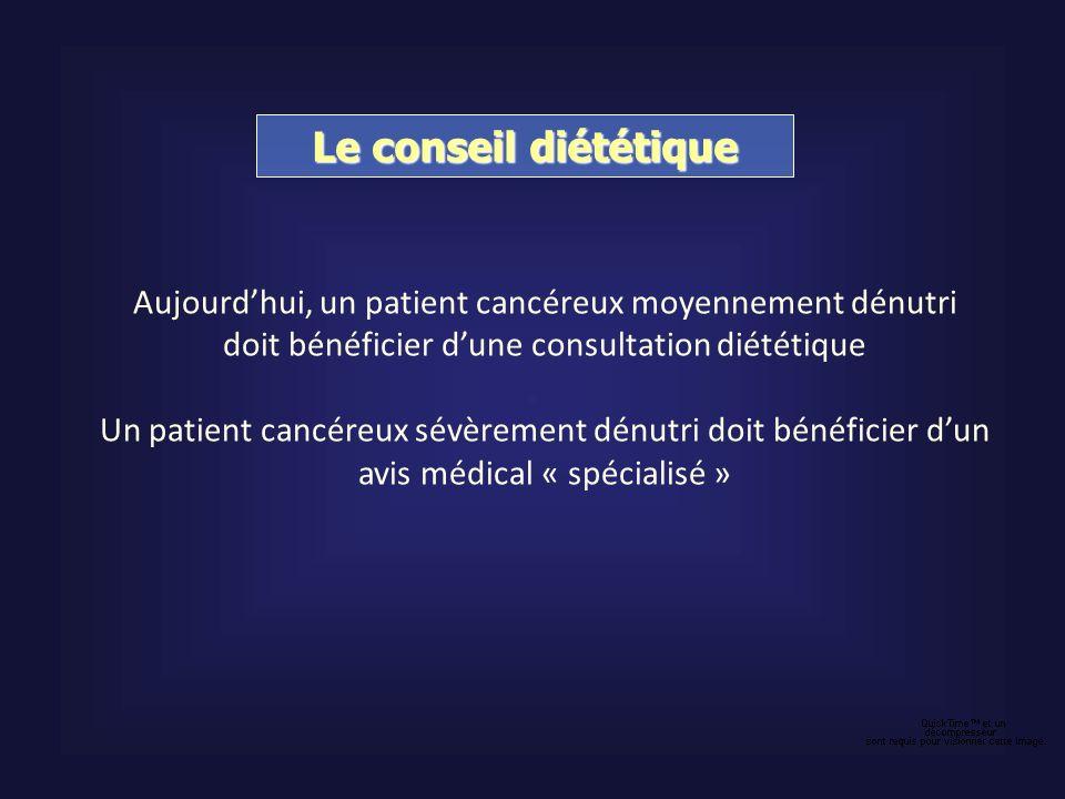 Le conseil diététiqueAujourd'hui, un patient cancéreux moyennement dénutri. doit bénéficier d'une consultation diététique.