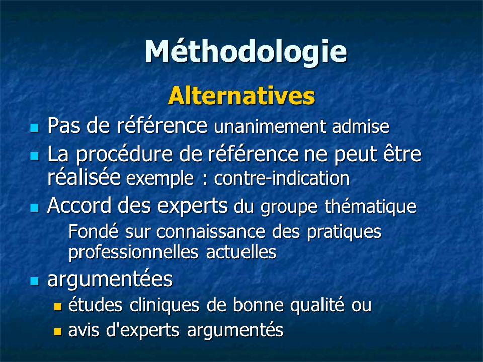 Méthodologie Alternatives Pas de référence unanimement admise