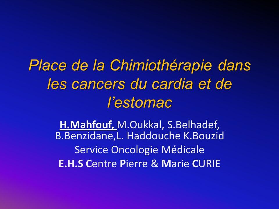 Place de la Chimiothérapie dans les cancers du cardia et de l'estomac