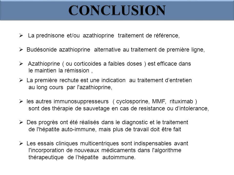 CONCLUSION La prednisone et/ou azathioprine traitement de référence,