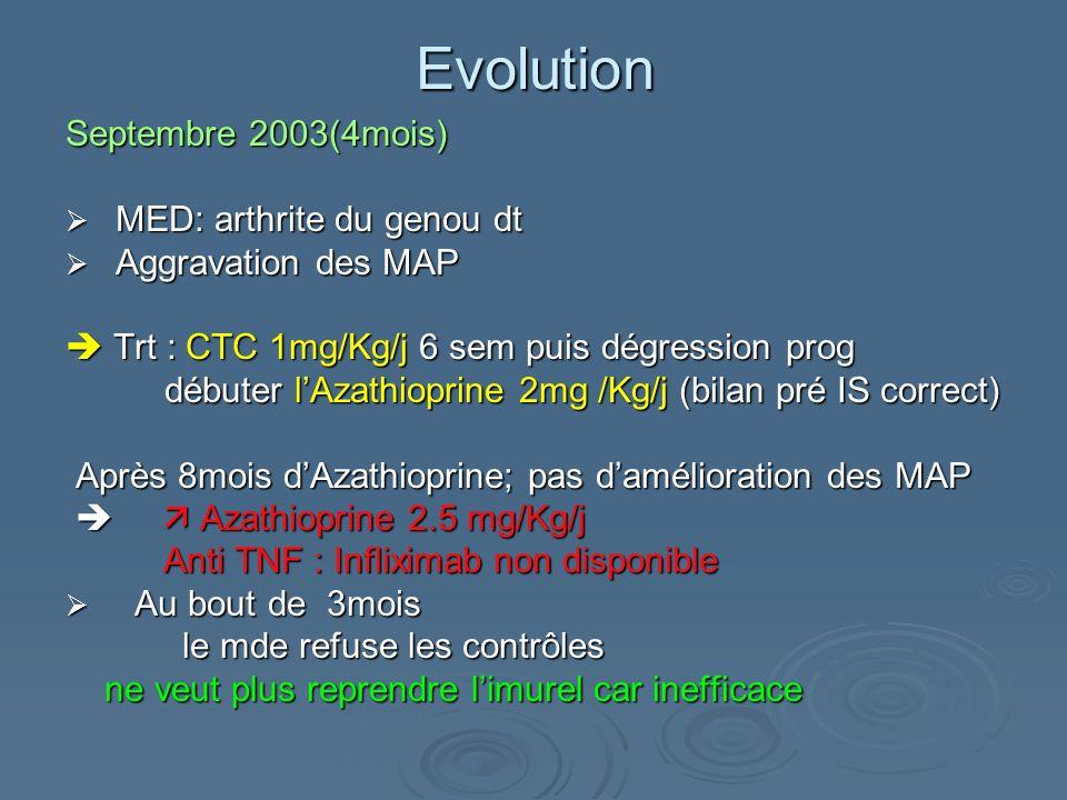 Evolution Septembre 2003(4mois) MED: arthrite du genou dt