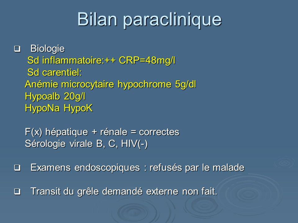 Bilan paraclinique Biologie Sd inflammatoire:++ CRP=48mg/l