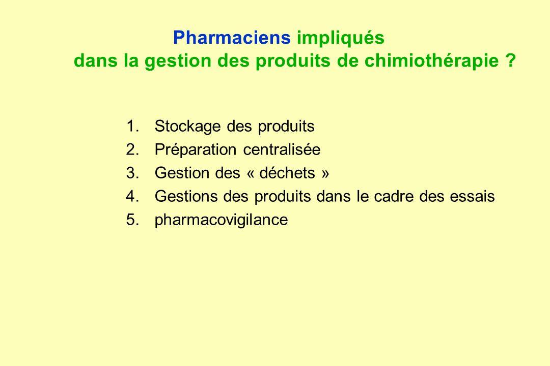 Pharmaciens impliqués dans la gestion des produits de chimiothérapie
