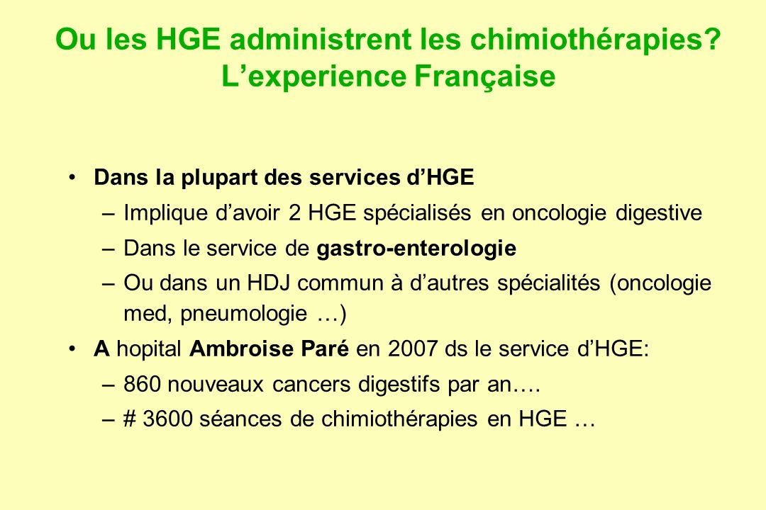 Ou les HGE administrent les chimiothérapies L'experience Française
