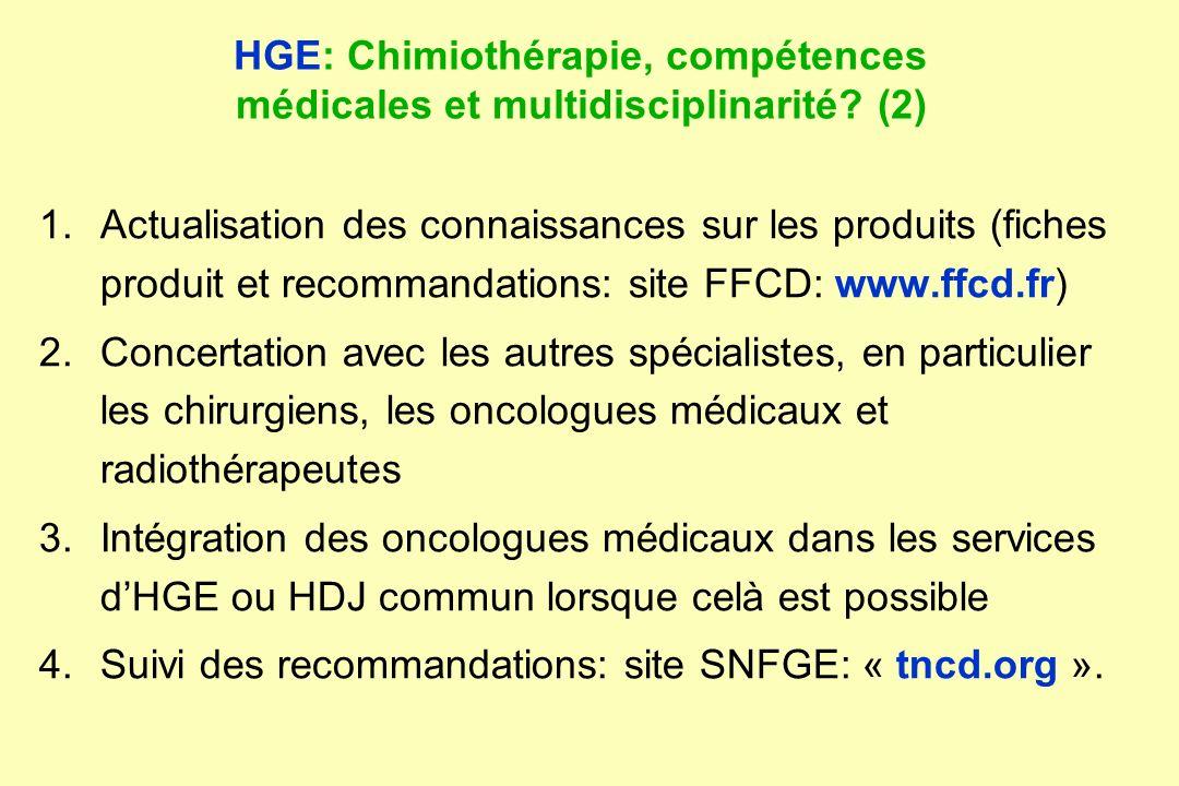 HGE: Chimiothérapie, compétences médicales et multidisciplinarité (2)