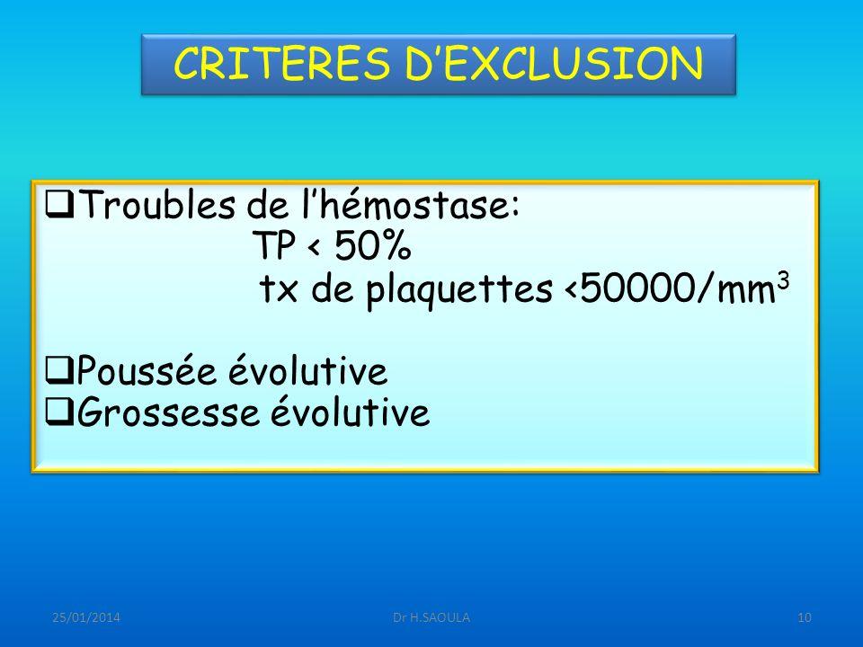 CRITERES D'EXCLUSION Troubles de l'hémostase: TP < 50%