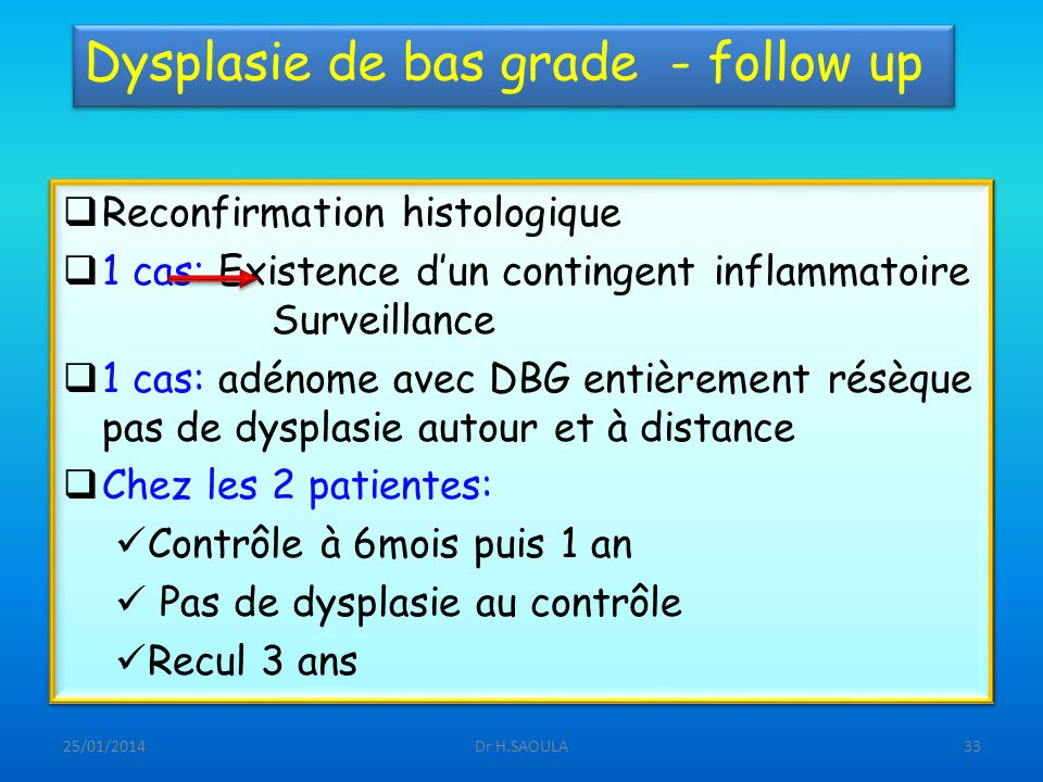 Dysplasie de bas grade - follow up