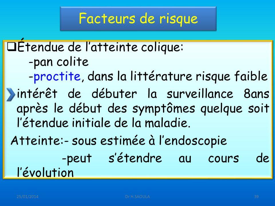 Facteurs de risque Étendue de l'atteinte colique: -pan colite