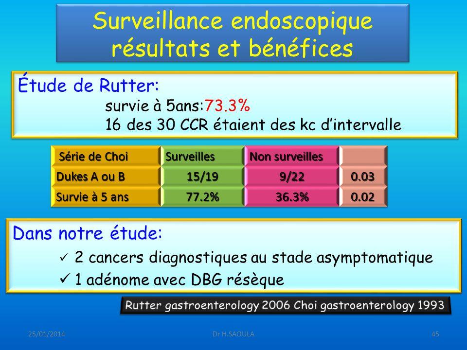 Surveillance endoscopique résultats et bénéfices