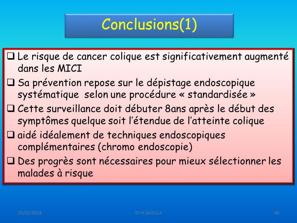 Conclusions(1) Le risque de cancer colique est significativement augmenté dans les MICI.