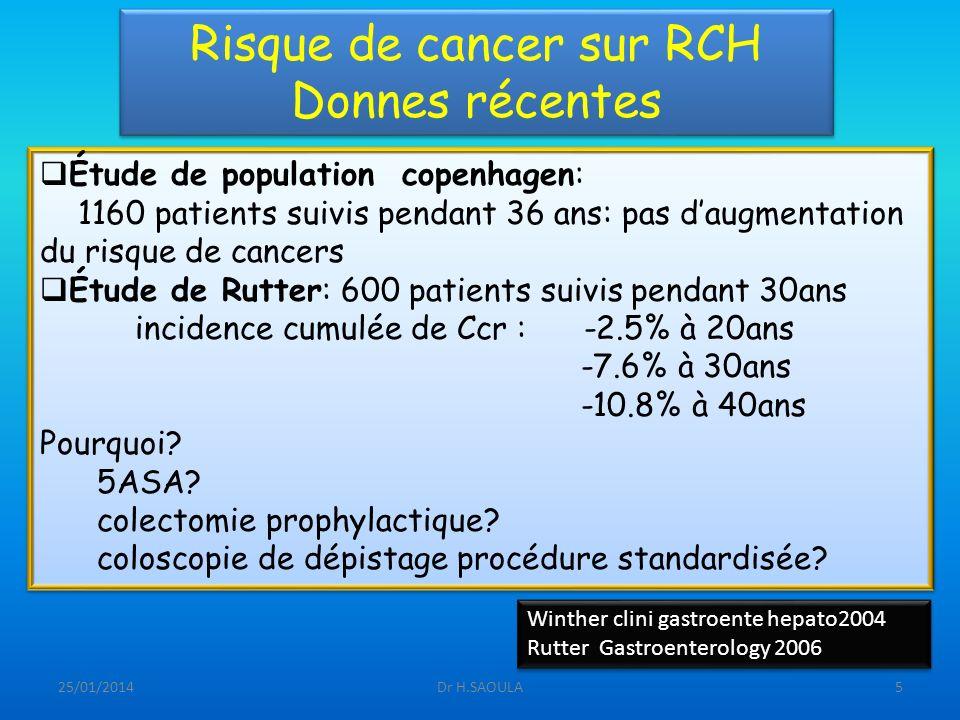 Risque de cancer sur RCH Donnes récentes
