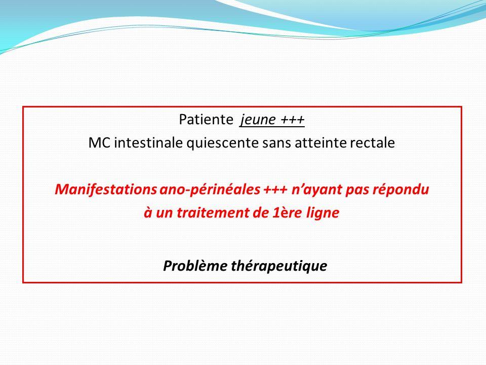 Patiente jeune +++ MC intestinale quiescente sans atteinte rectale Manifestations ano-périnéales +++ n'ayant pas répondu à un traitement de 1ère ligne Problème thérapeutique