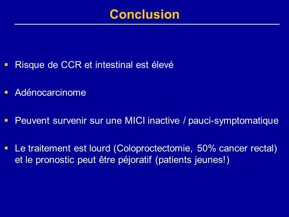Conclusion Risque de CCR et intestinal est élevé Adénocarcinome