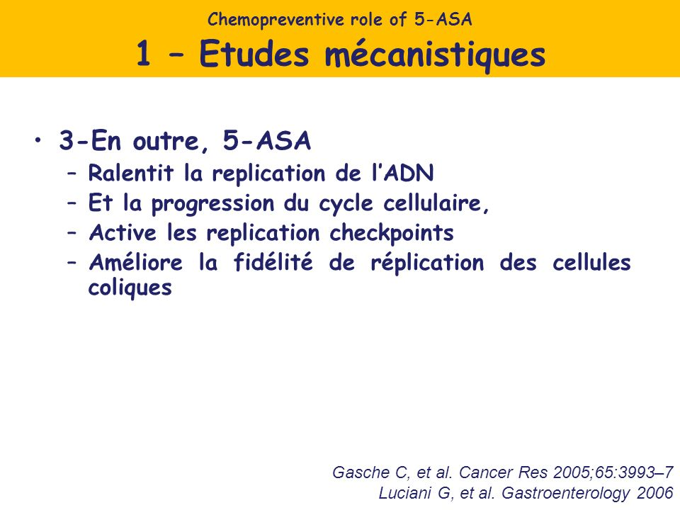 Chemopreventive role of 5-ASA 1 – Etudes mécanistiques
