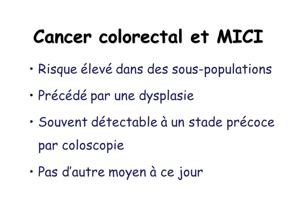 Cancer colorectal et MICI