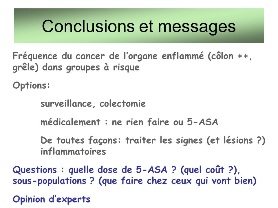 Conclusions et messages