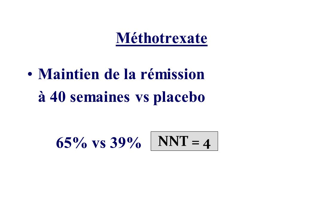 Maintien de la rémission à 40 semaines vs placebo 65% vs 39%