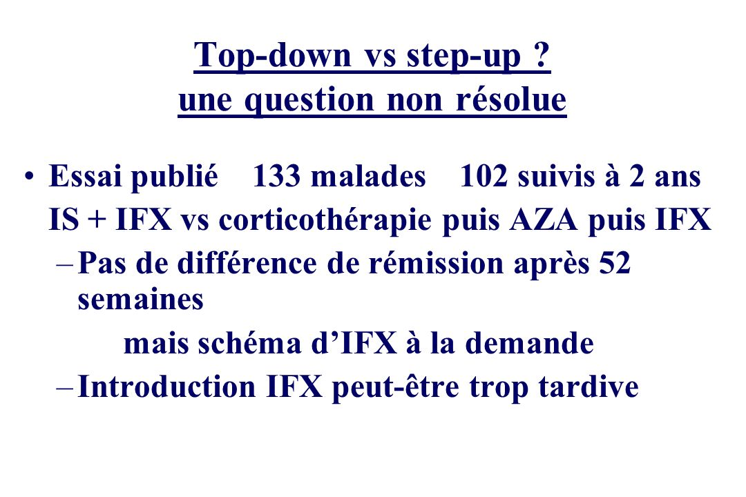 Top-down vs step-up une question non résolue