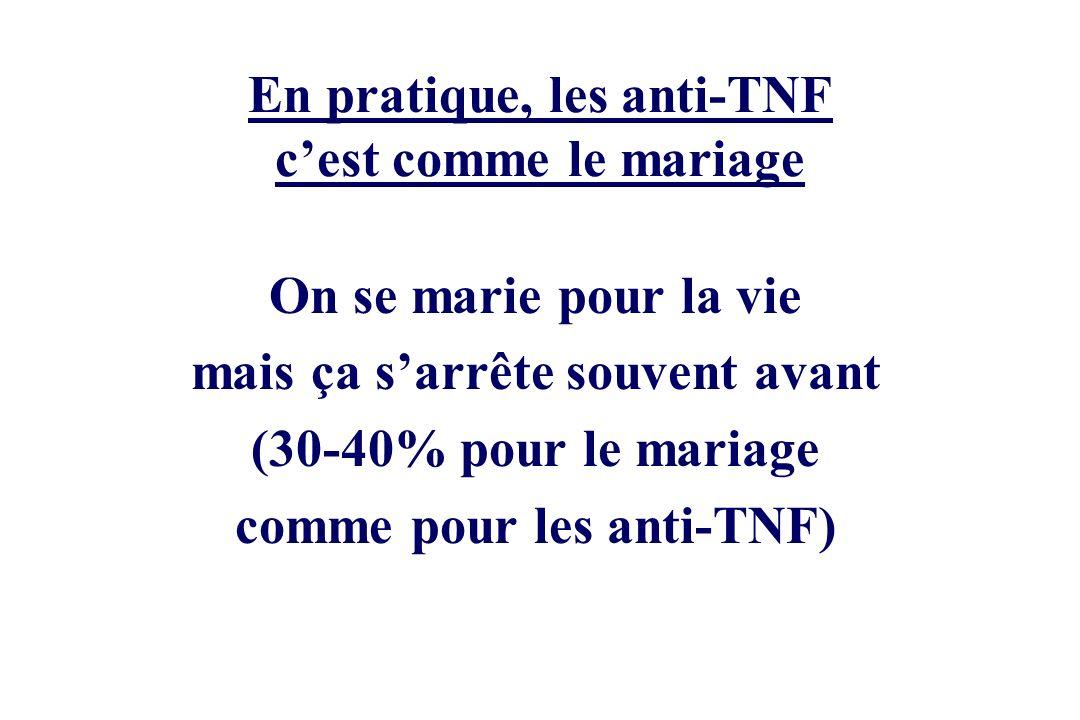 En pratique, les anti-TNF c'est comme le mariage