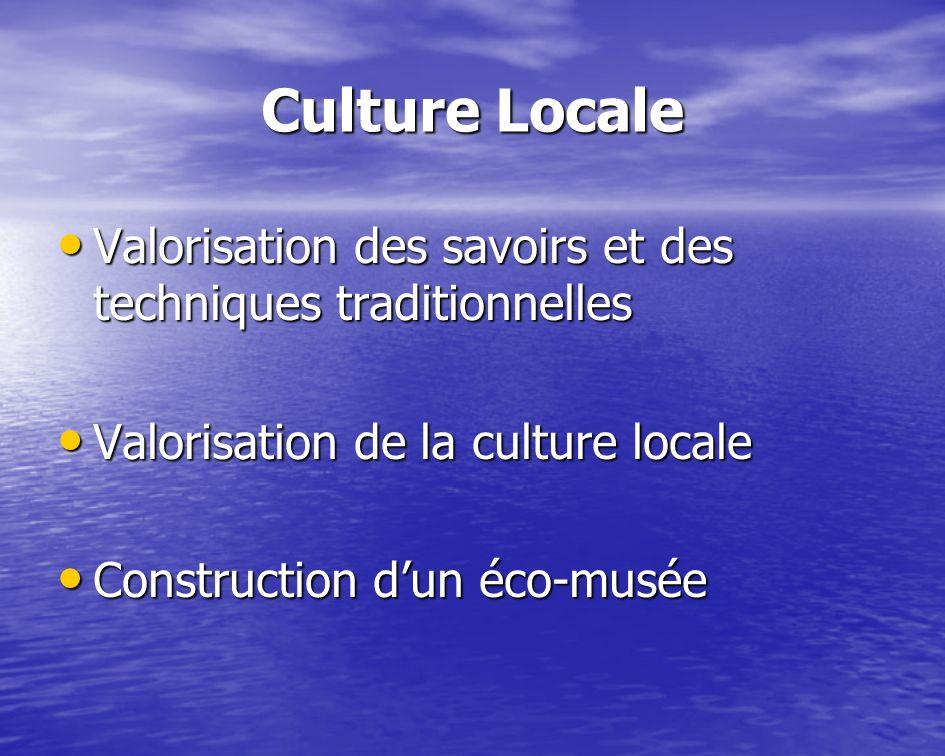 Culture Locale Valorisation des savoirs et des techniques traditionnelles. Valorisation de la culture locale.