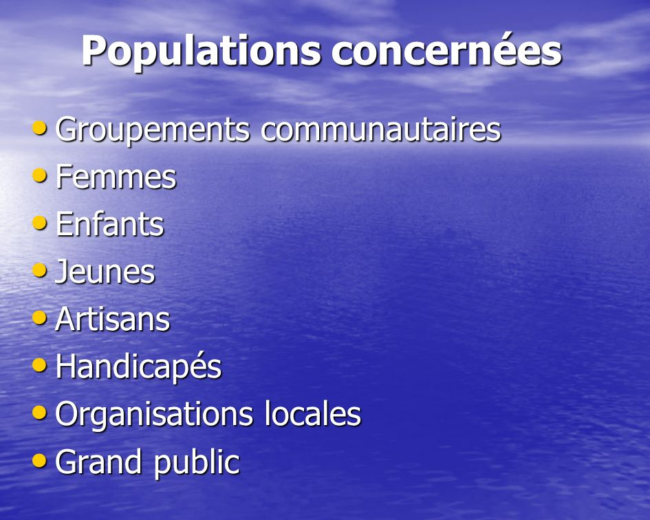 Populations concernées