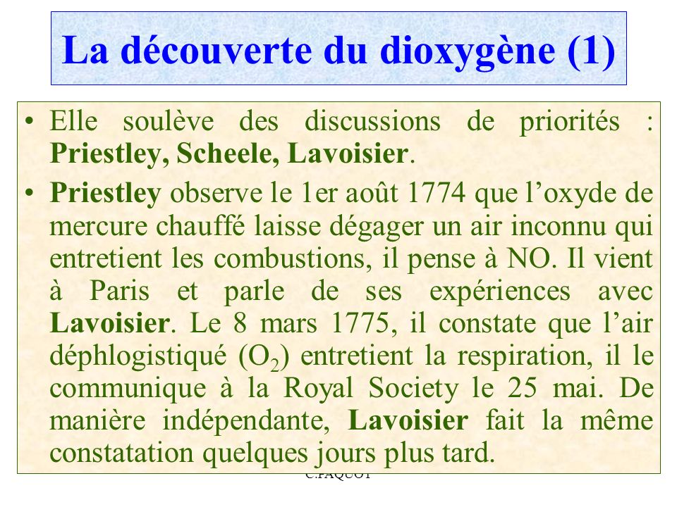 La découverte du dioxygène (1)