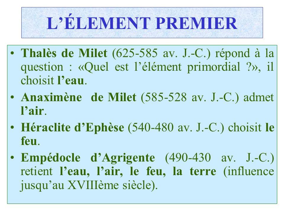 L'ÉLEMENT PREMIER Thalès de Milet (625-585 av. J.-C.) répond à la question : «Quel est l'élément primordial », il choisit l'eau.