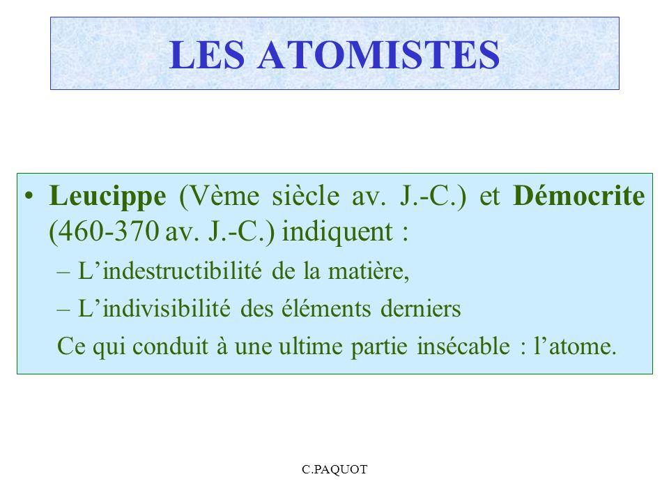 LES ATOMISTES Leucippe (Vème siècle av. J.-C.) et Démocrite (460-370 av. J.-C.) indiquent : L'indestructibilité de la matière,