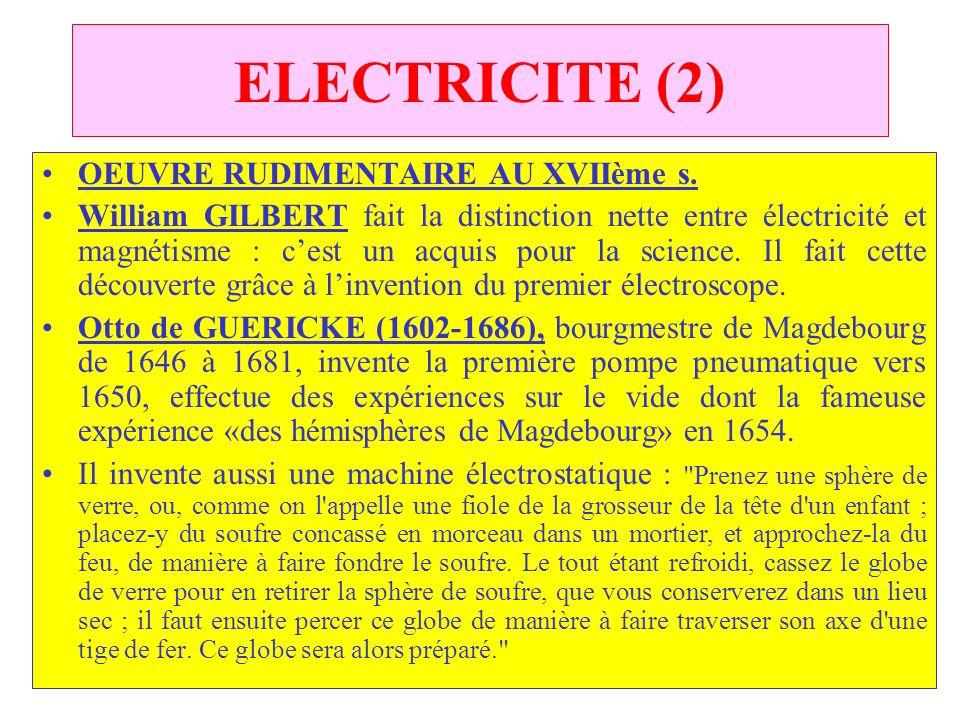 ELECTRICITE (2) OEUVRE RUDIMENTAIRE AU XVIIème s.